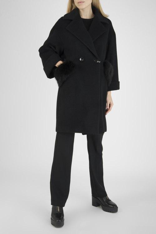 Пальто с мехом Carla Ponti